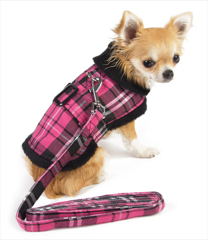 Doggie Design Pink Plaid Dog Jacket - Chihuahua