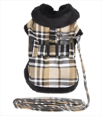 Dog Jacket - Doggie Design Tan Plaid