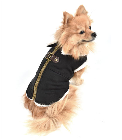 Black furry runner coat for small dogs