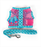 Mesh Harness w Leash - Flip Flop Pink & Blue