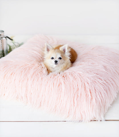 Peach Himalayan Yak Faux Fur Dog Bed for Small Dogs