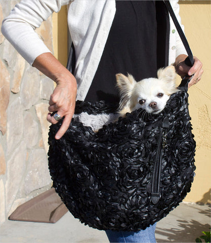 Victorian Dog Sling Carrier with dog