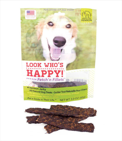 Look Who's Happy Venison Jerky Fetchn' Fillets Treats