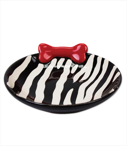Zebra low rise dog dish bowl