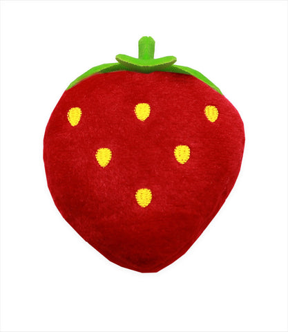 Strawberry plush squeaky dog toy