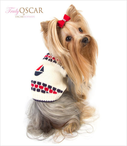 Oscar Newman Organic Dog Sweater on Yorkie