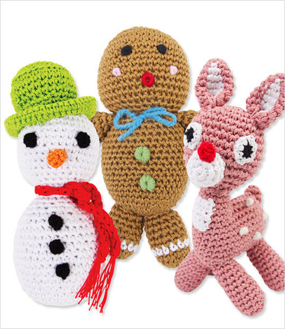 Holiday Organic Knit Knack Dog Toys