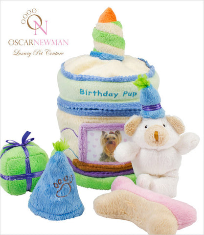 Ocsar Newman Blue Birthday Cake Dog Toy