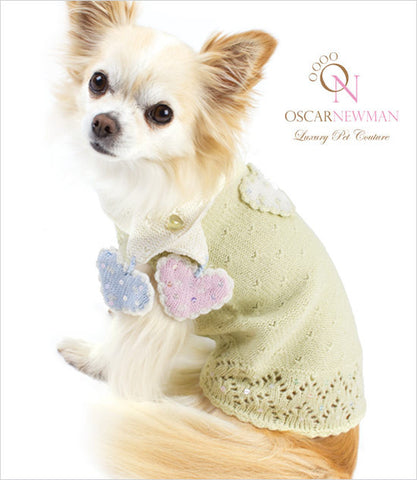 Oscar Newman Little Sweet Hearts Dog Sweater and Scarf Set