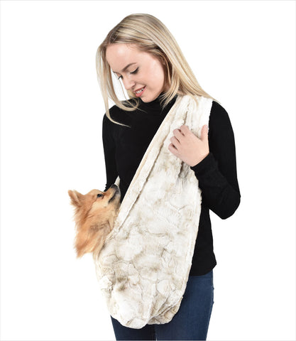 Peluche Plush small dog sling carrier in Bunny Cuddle Cream