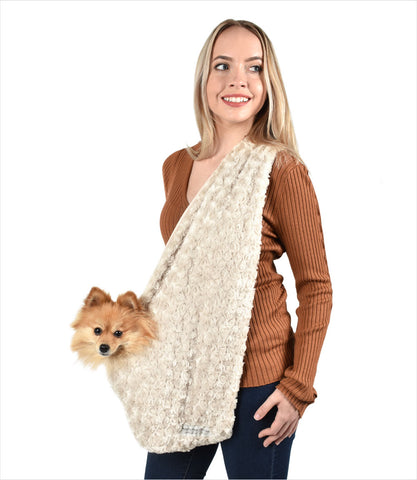 Peluche Plush small dog sling carrier in fawn rose petal