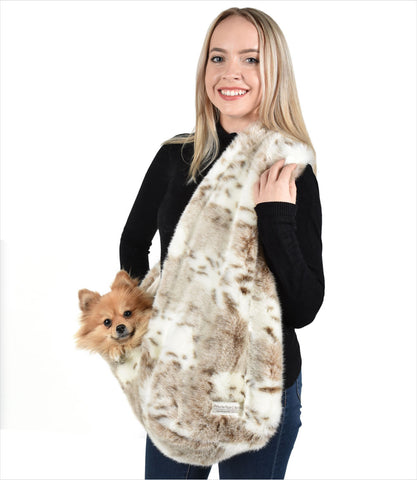 Peluche Plush Siberian Leopard Snuggle Sling Dog Carriers