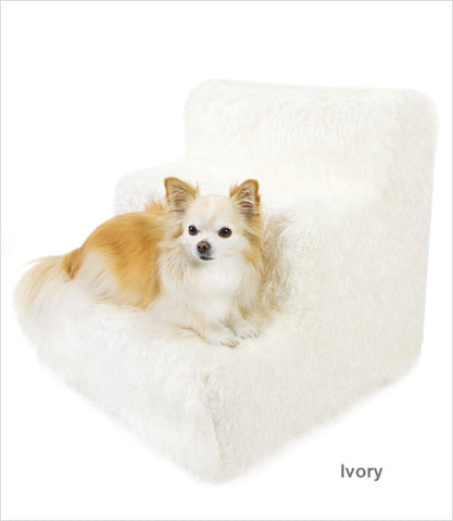 Ivory cover 3-step pet stairs