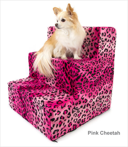 Hot Pink Cheetah velour 3-step dog steps