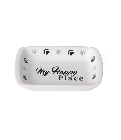 My Happy Place Saucer Dog Bowl by Pet Rageous Designs