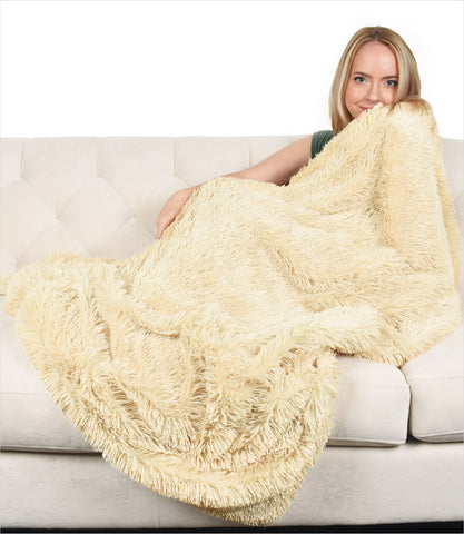 Peluche Plush Camel Shag Throw Blanket