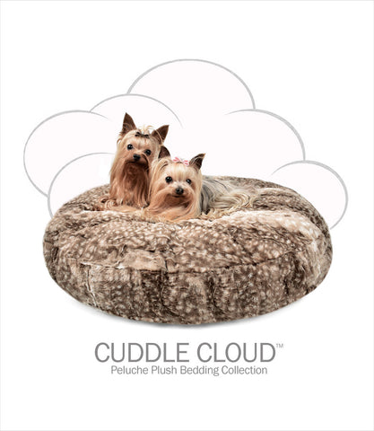 Peluche Plush Bambi Cuddle Round Small Dog Beds