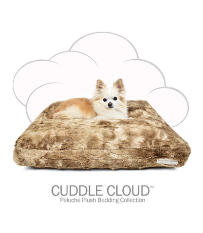 Cuddle Cloud Square Dog Bed - Peluche Plush Bunny Cocoa
