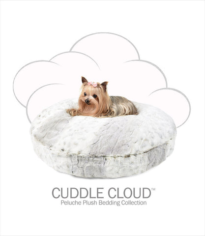 Cuddle Cloud Peluche Plush Dog Bed - Snow Leopard Round