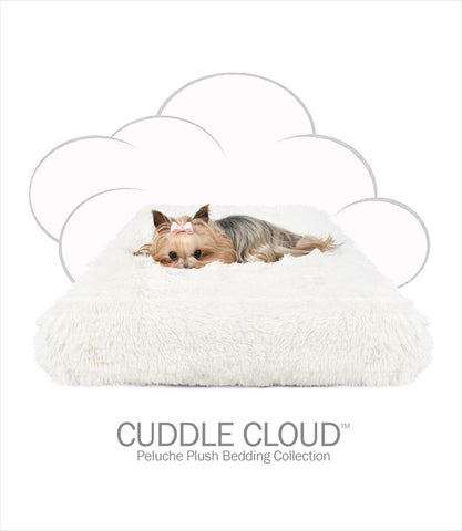 Cuddle Cloud Ivory Shag Square Dog Bed - Peluche Plush
