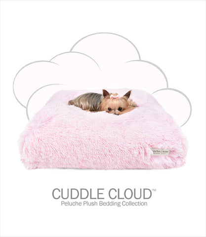 Peluche Plush Cuddle Cloud Pink Shag Small Dog Beds