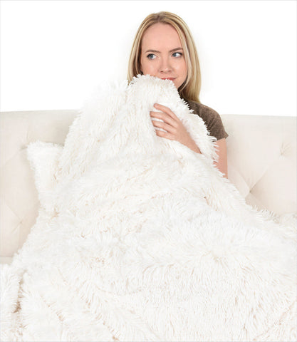 Peluche Plush Powder Puff Throw - Ivory Shag