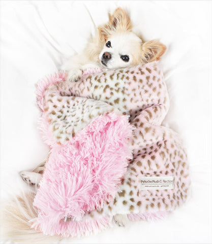 Pink Leopard with Pink Shag Carrier Blanket