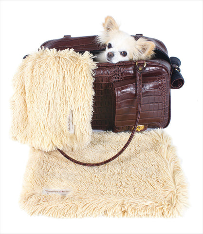 Peluche Plush Camel Powder Puff Blanket - Carrier
