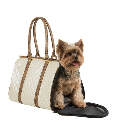 JL Duffel Ivory Quilted Dog Carrier