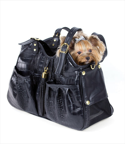 Petote Metro Black Croc Dog Carrier