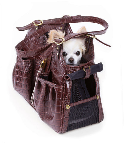 Petote Metro Collection Dog Carrier Brown Croc