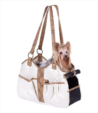Ivory Quilted Metro Dog Carrier with Yorkie