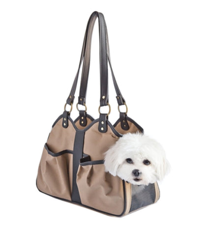 Khaki Metro Collection Dog Carrier with Dog