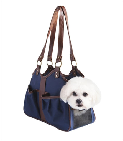 Navy Metro Collection Pet Carrier with Dog