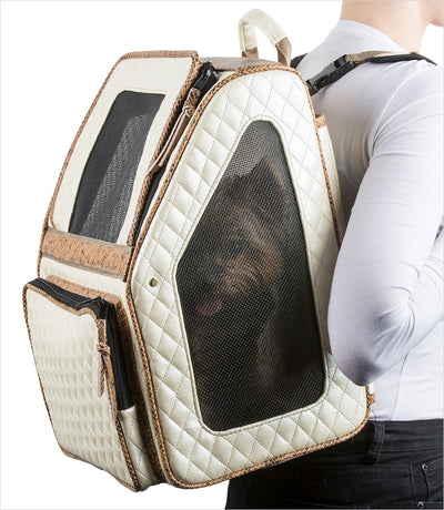 Rio Bag Backpack dog carrier - Ivory Quilted