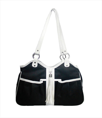 Metro Collection Pet Carrier- Black & White w/ Tassel