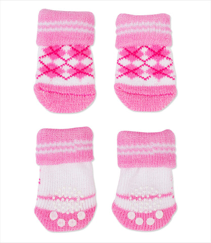 Puppia Pink Argyle Dog Socks