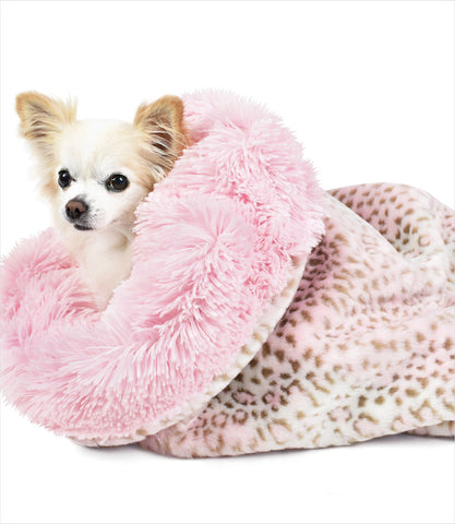 Pink Leopard Shag Cuddle Cup Dog Bed