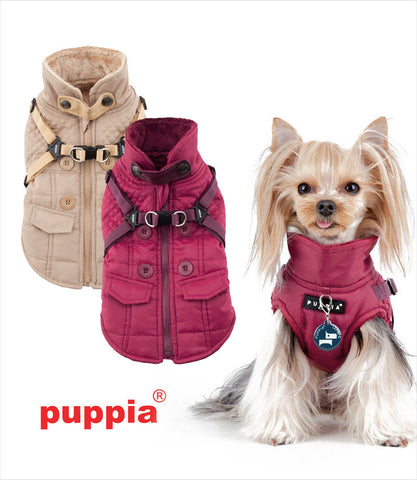 Puppia Wilkes Dog Harness Jacket in Beige and Wine