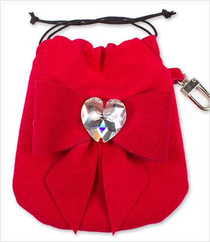 Red Tail Bow Heart Ultrasuede Travel Pouch