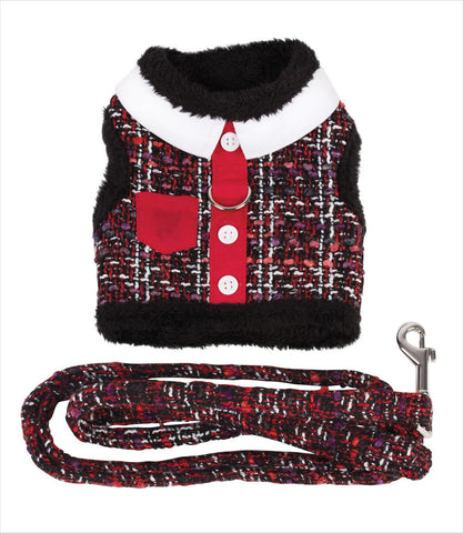 Tweed Dog Harness Vest and Leash - Red