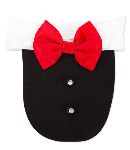 Dog Tuxedo Bib - Black with Red Tie