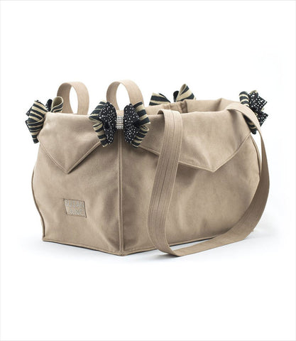 Tan luxury pet carrier with Serengeti and Black Nouveau Bows by Susan Lanci Designs