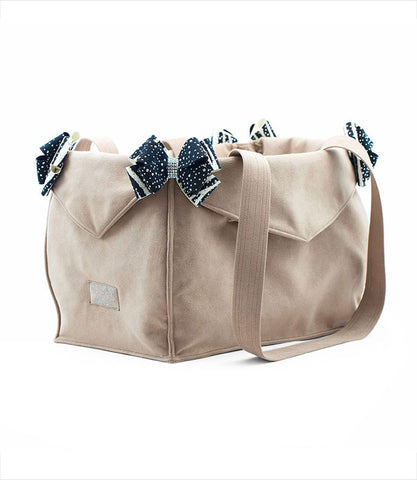 Susan Lanci Luxury Carrier for small dogs in Fawn with Zebra and Black stardust Nouveau Bows