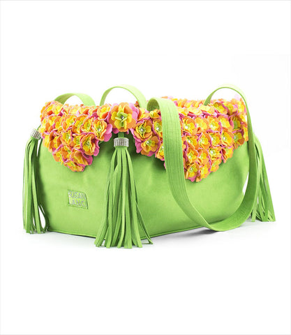 Susan Lanci Luxury Pet Carrier in green with tinkies garden flowers