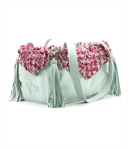 Susan Lanci Designs Luxury Mint Dog Carrier with Tinkies Garden Flowers