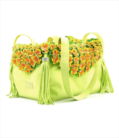 Susan Lanci Luxury Pet Carrier in kiwi with tinkies garden flowers