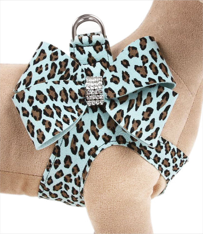 Susan Lanci Designs Tiffi Blue Cheetah Nouveau Bow Step In Harness