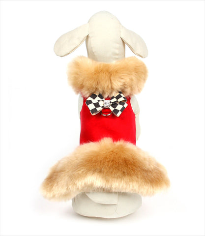 Champagne Fox Fur Dog Jacket Windsor Check Bow