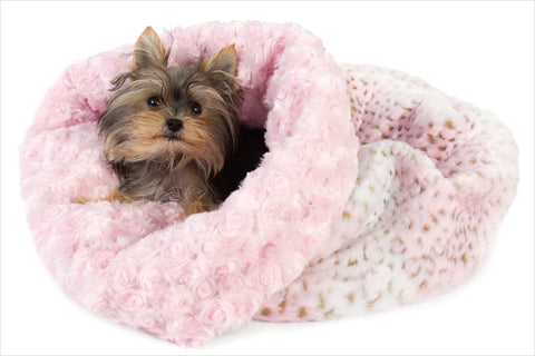 Pink Leopard Cuddle Cup Dog Bed